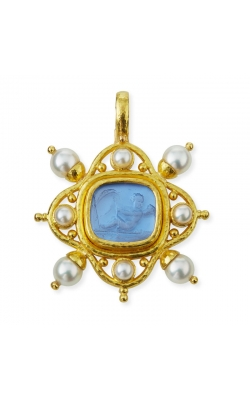 Elizabeth Locke Cerulean 'Cherub with Sail' and Pearl Pendant P100322-L product image