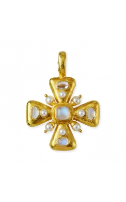 Elizabeth Locke Small Moonstone and Pearl Maltese Cross Pendant P72649 product image