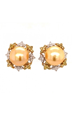 Golden Pearl Earrings With White And Yellow Diamonds. product image