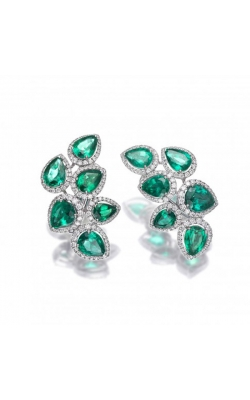 Crown Drop Emerald Earrings #E290